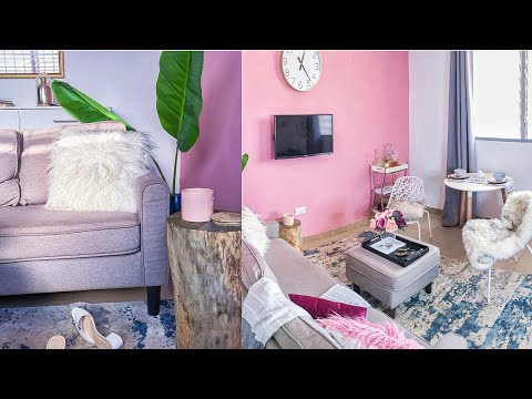 RENTAL LIVING ROOM DECOR & TOUR 2019 GHANA APARTMENTS || PINK LIVING ROOM