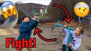 ANGRY SKATER FIGHTS SCOOTER KID!