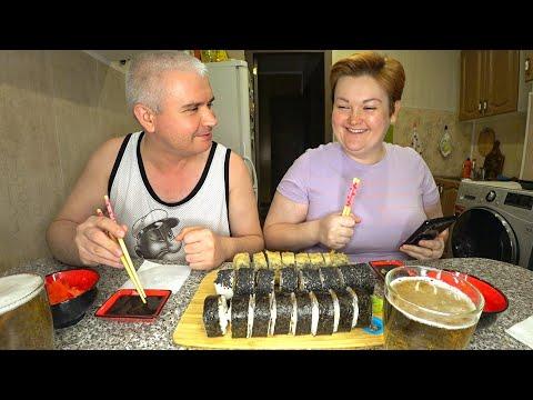 Мукбанг ОГРОМНЫЕ роллы и пиво! Отвечаем на вопросы О НАС) Доставки еды из кафе Самурай, обзор суши