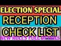 Election Reception check list, techysirji