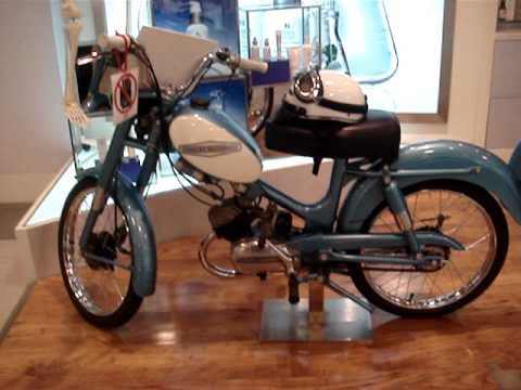 Vintage Harley Davidson Moped at a kiosk at the airport in Taiwan