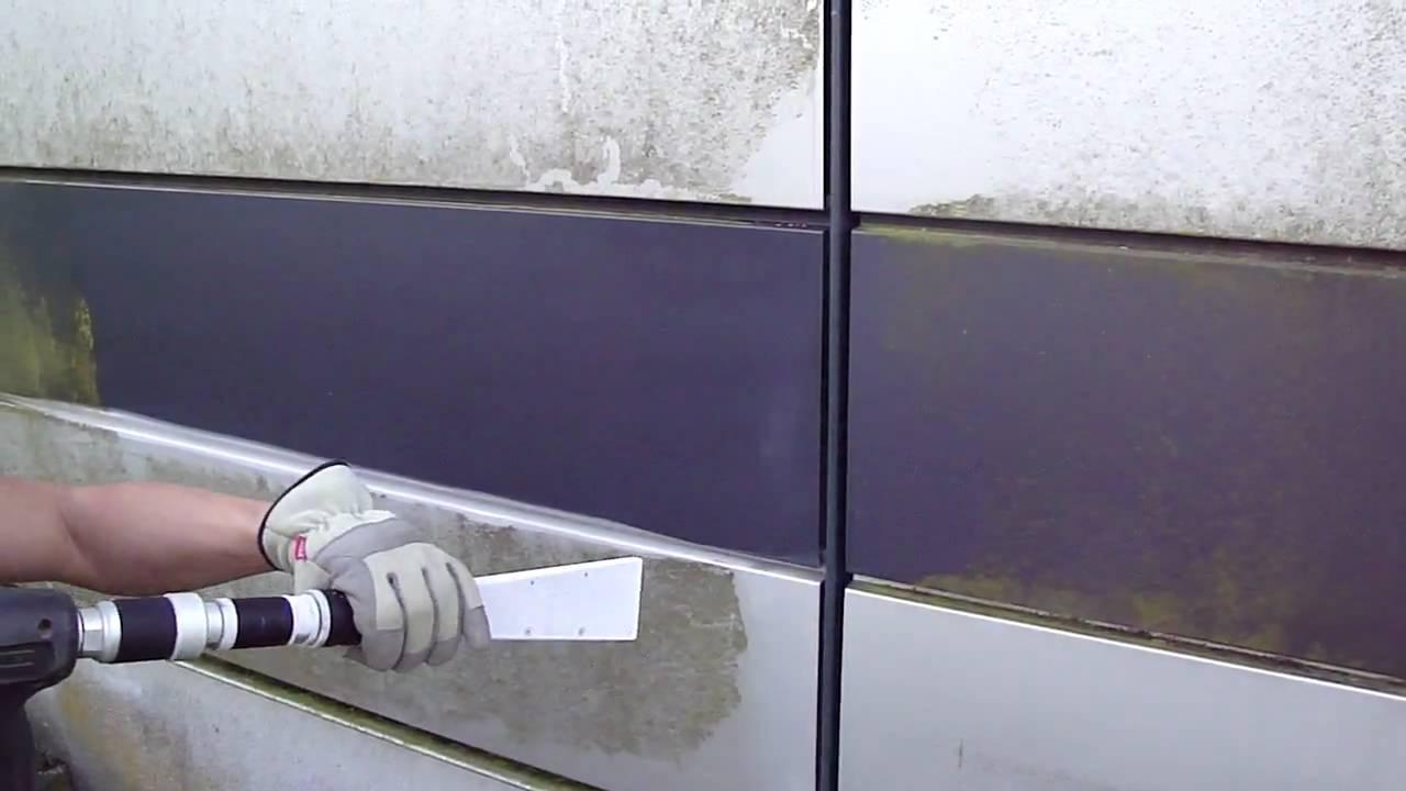 Trockeneis Reinigung Aluminium-Fassade - YouTube