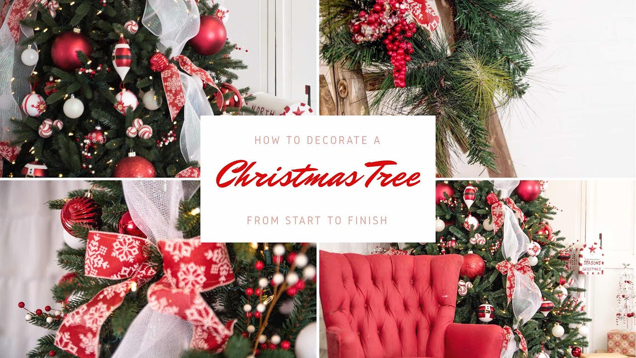how to decorate a christmas tree from start to finishdecorate with me