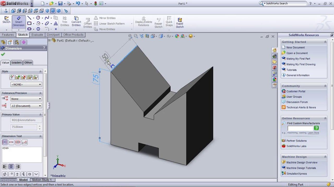 Lesson-1 solidworks basic functions using v-block premium ...