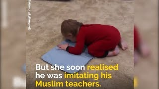 a little baby from america saw his teachers praying salah so at hom...