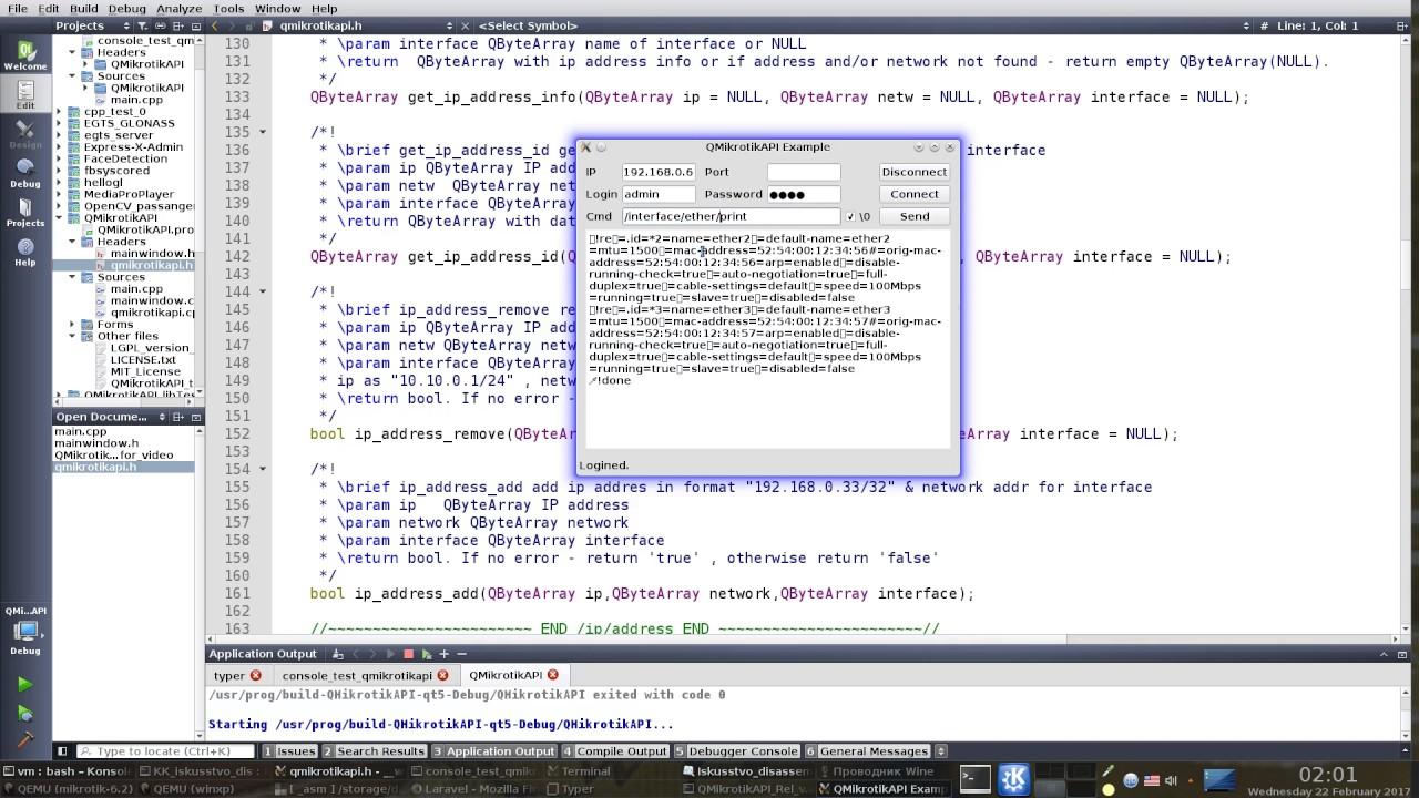 Qt Mikrotik API C++ Library - QMikrotikAPI