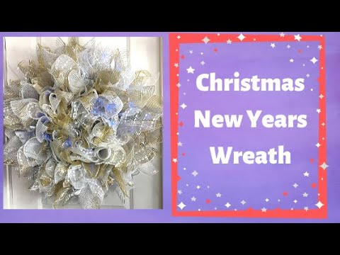 How to make a Sunburst  Deco Mesh Wreath for Christmas or New Years Gold White and Silver1