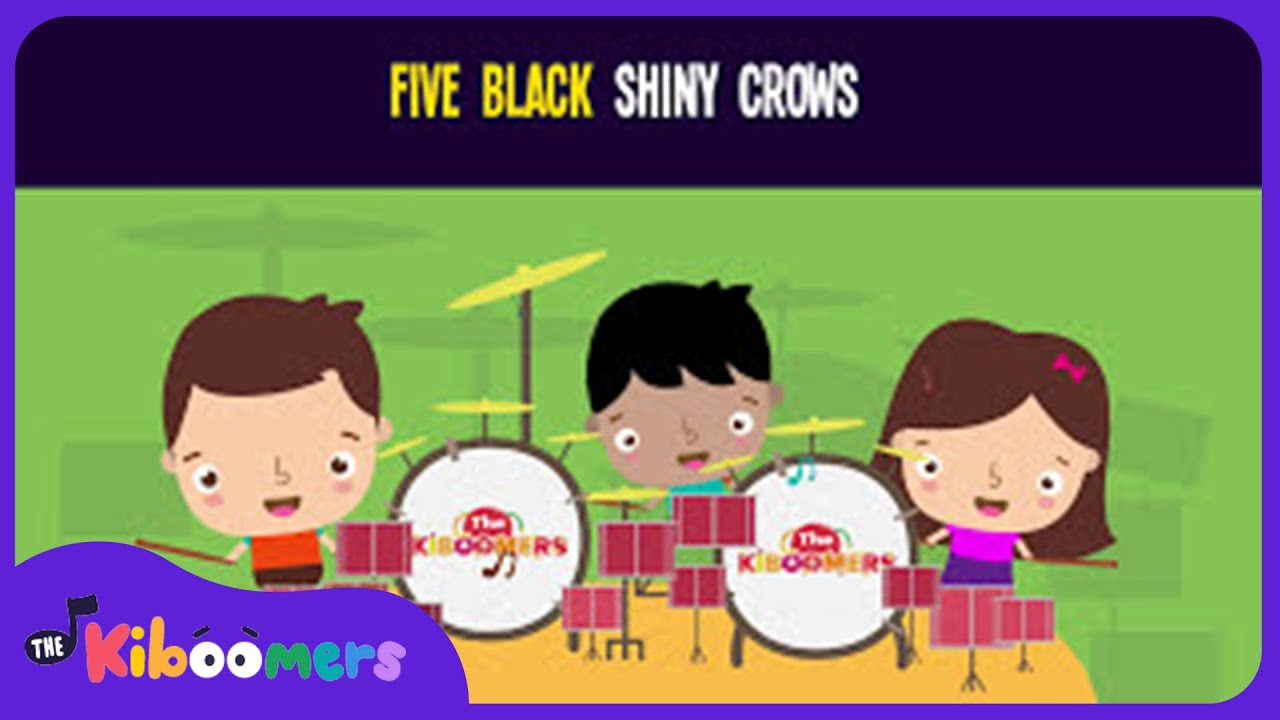 Five Black Shiny Crows Song for Kids | Scarecrow Songs and Fingerplays  | The Kiboomers