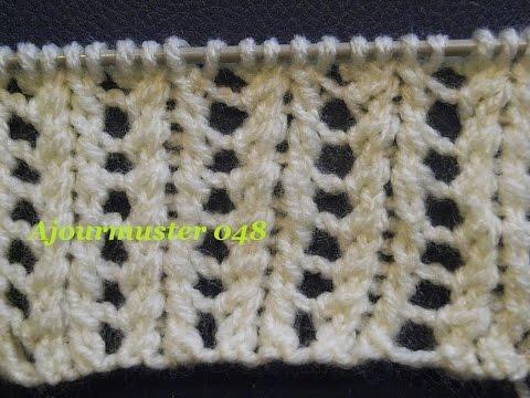 Lochmuster Ajourmuster Netzmuster 048*Stricken Lernen*Muster Für Pullover*Mütze*Tutorial Kreativ