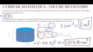 Curso de Matemática Volume do Cilindro Área da Base vezes Altura Geometria Espacial