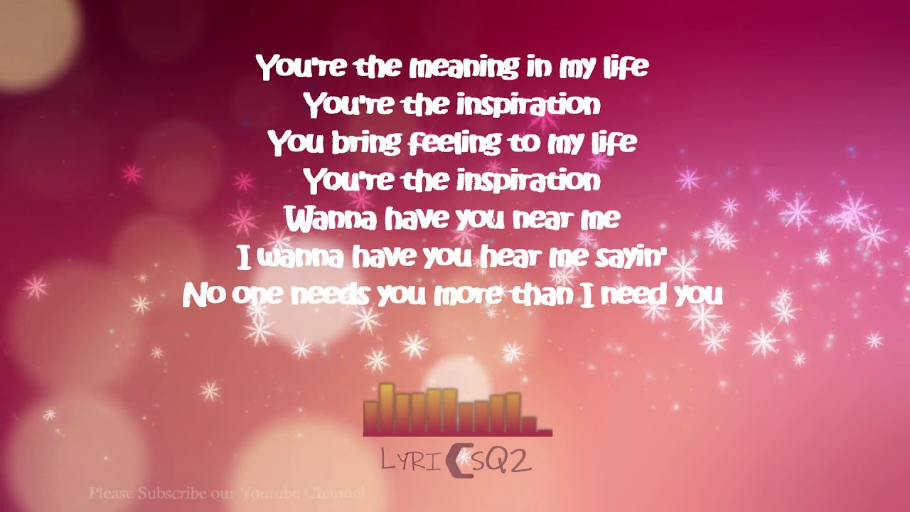 You Re The Inspiration David Pomeranz Cover Lyrics Youtube
