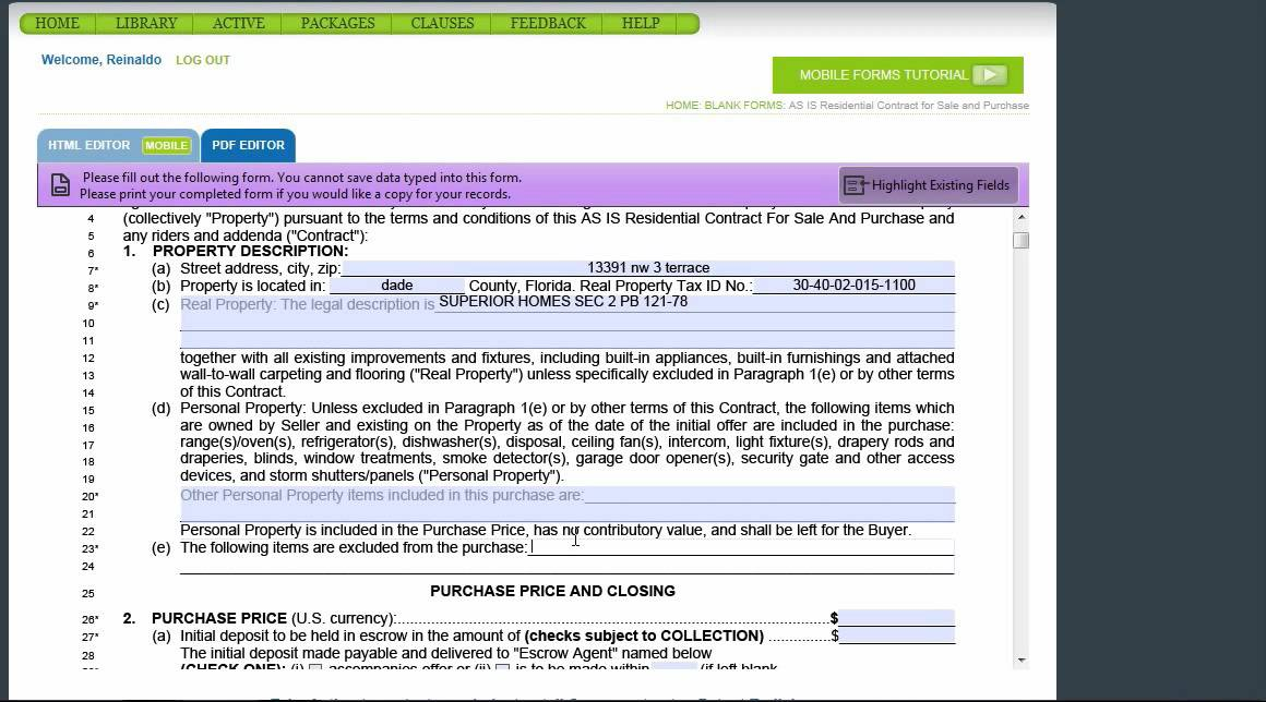FLORIDA REALTY OF MIAMI AS IS PURCHASE CONTRACT PT 1 - YouTube - blank purchase contract