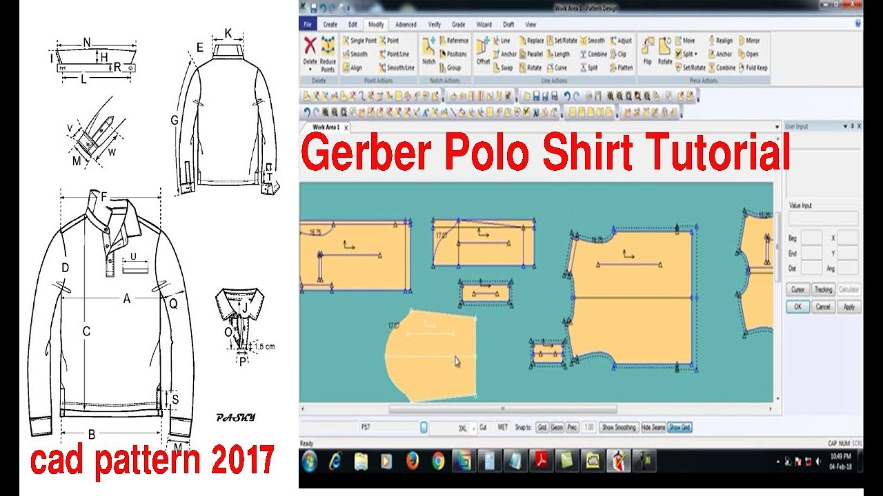 Gerber Polo Shirt Tutorial Gerber Polo Shirt Design T Shirt Design By Gerber Software Accumark Youtube
