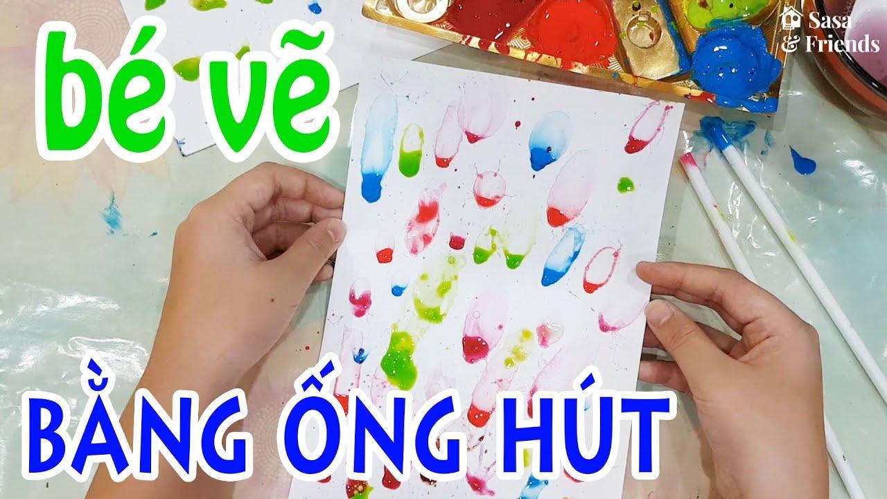 Cách vẽ tranh bằng ỐNG HÚT – Vẽ BONG BÓNG bằng ống hút – How to paint with straws – ストローでペイントする方法