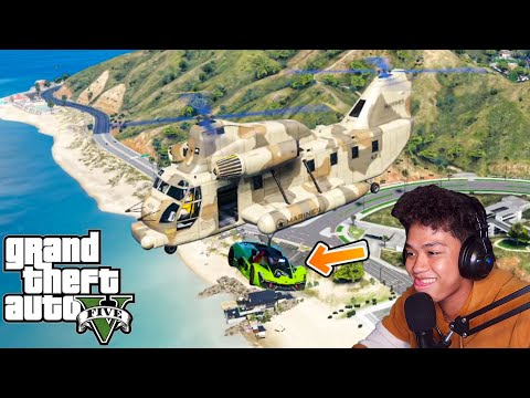 Stealing a LAMBO Supercar using HELICOPTER!!   GTA 5