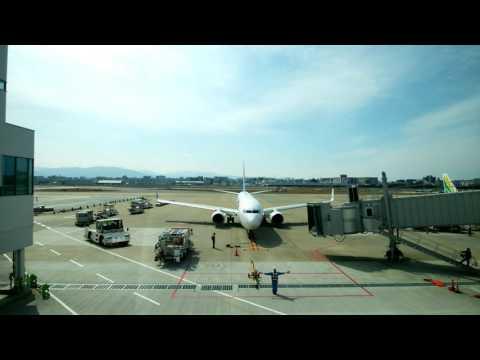 Timelapse Flight arrival at Fukuoka Airport