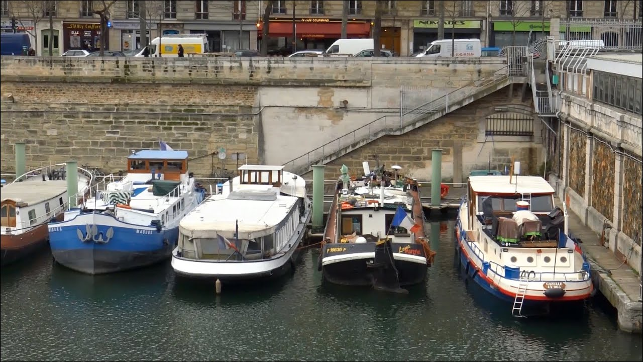 Paris bassin de l 39 arsenal la bastille m tro port de plaisance france youtube - Port de l arsenal bastille ...