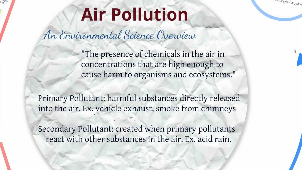 environmental health science air pollution Air pollution refers to the release of pollutants into the air that are detrimental to human health and the planet as a whole the clean air act authorizes the us environmental protection agency (epa) to protect public health by regulating the emissions of these harmful air pollutants the nrdc .