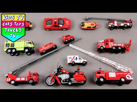 Learn Fire Department Vehicles For Kids Children BabiesToddlers With Fire Engine Rescue Car