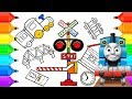 How to Draw Railroad Crossing | Coloring Pages Toys Train for Children
