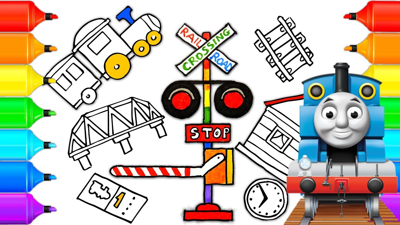 How to Draw Railroad Crossing  Coloring Pages Toys Train for Children