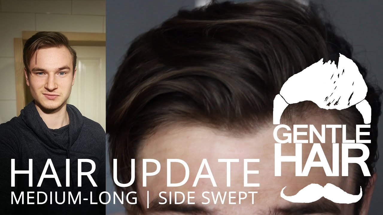 Hair Update   Medium Long Mens Hair Styling | Side Swept | GentleHair    YouTube