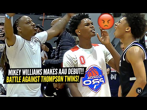 Mikey Williams Makes CRAZY AAU Debut vs 5 Star Thompson Twins! The MOST LIT AAU Game of 2021!  