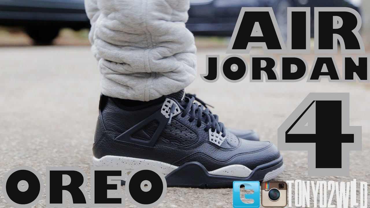 air jordan 4 oreo on feet
