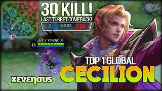 30 Kill Cecilion Inhuman Control. 1% Chance to Win? xεvεησυs Top 1 Global Cecilion - MLBB