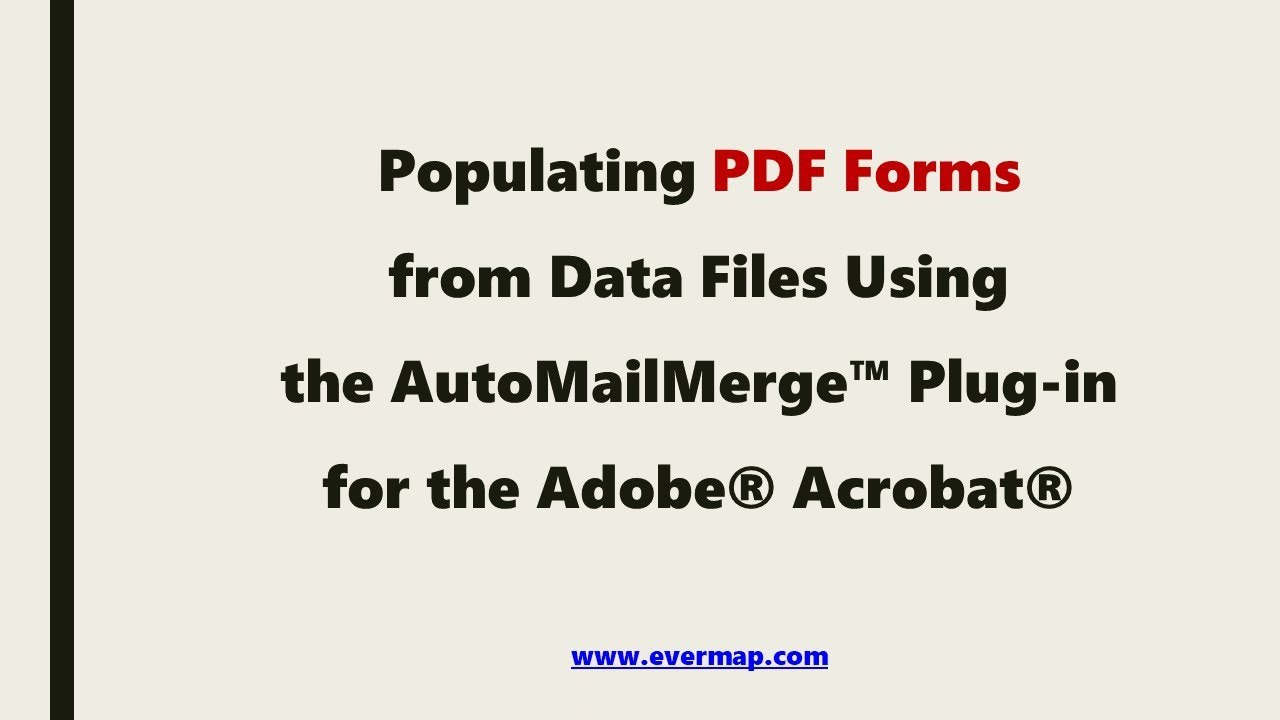 Populating PDF Form with Excel Data Using the