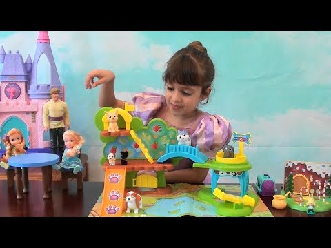 Thumbnail: Princess Story: Frozen Anna and Elsa, Puppy Park Toy Set, Woodland Playset Ginger Bread House, Kids