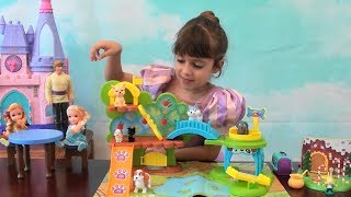 Princess Story: Frozen Anna and Elsa, Puppy Park Toy Set, Woodland Playset Ginger Bread House, Kids