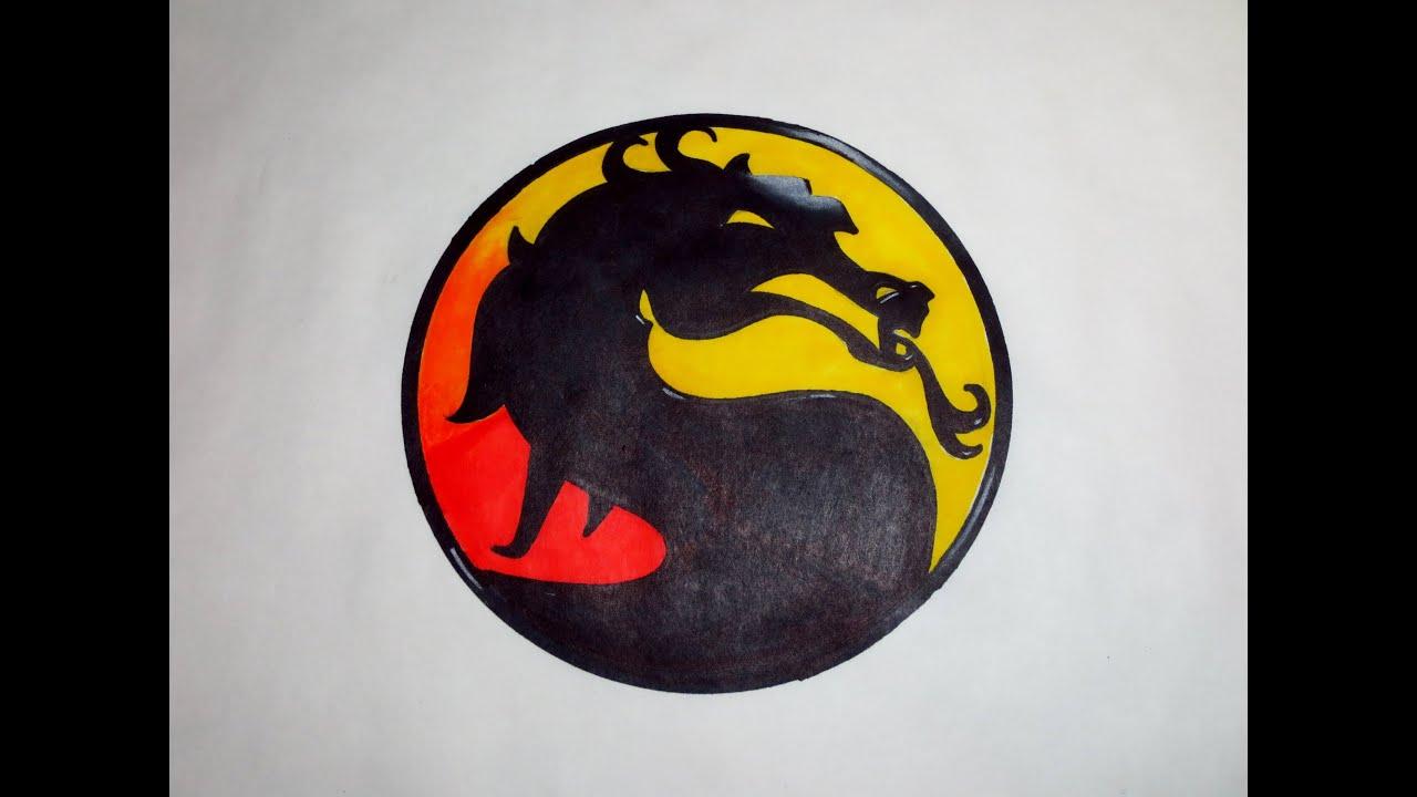 How To Draw Mortal Kombat Logo Youtube