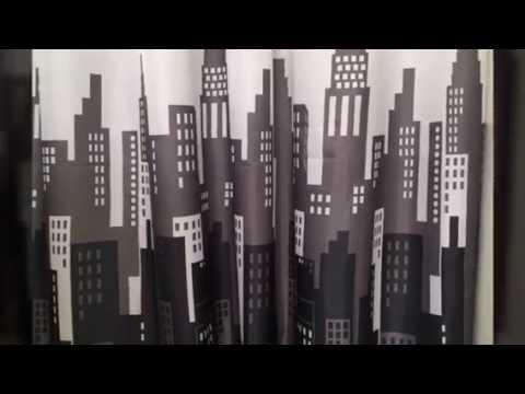 Curtains Ideas cityscape shower curtain : City Buildings Shower Curtain & 12 Decorative Hooks Black, Grey ...