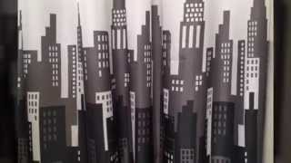 City Buildings Shower Curtain & 12 Decorative Hooks Black, Grey, white