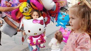 Maya Kendine 3 Tane Uçan Balon Aldı - 1 Tanesi Elinden Kaçtı - Elsa Hello Kitty Heidi Niloya Pepee