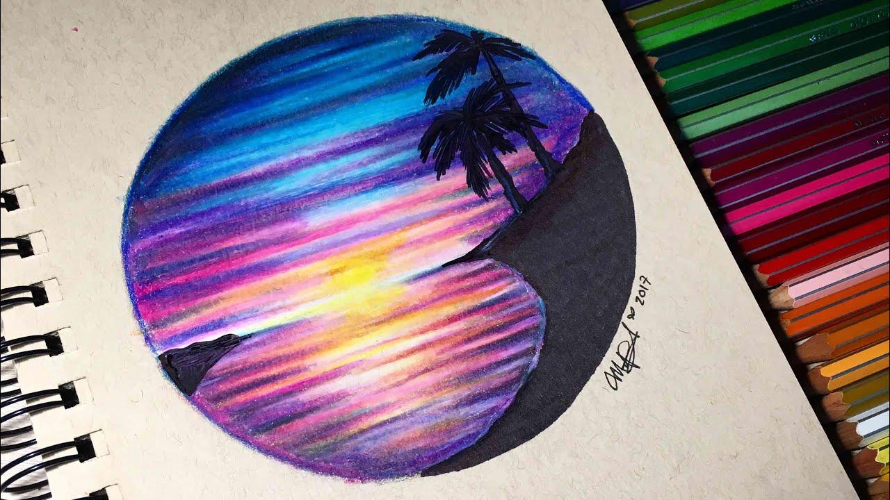 Dibujos Bonitos De Colores: PAISAJE SUPER FACIL CON LAPICES DE COLORES