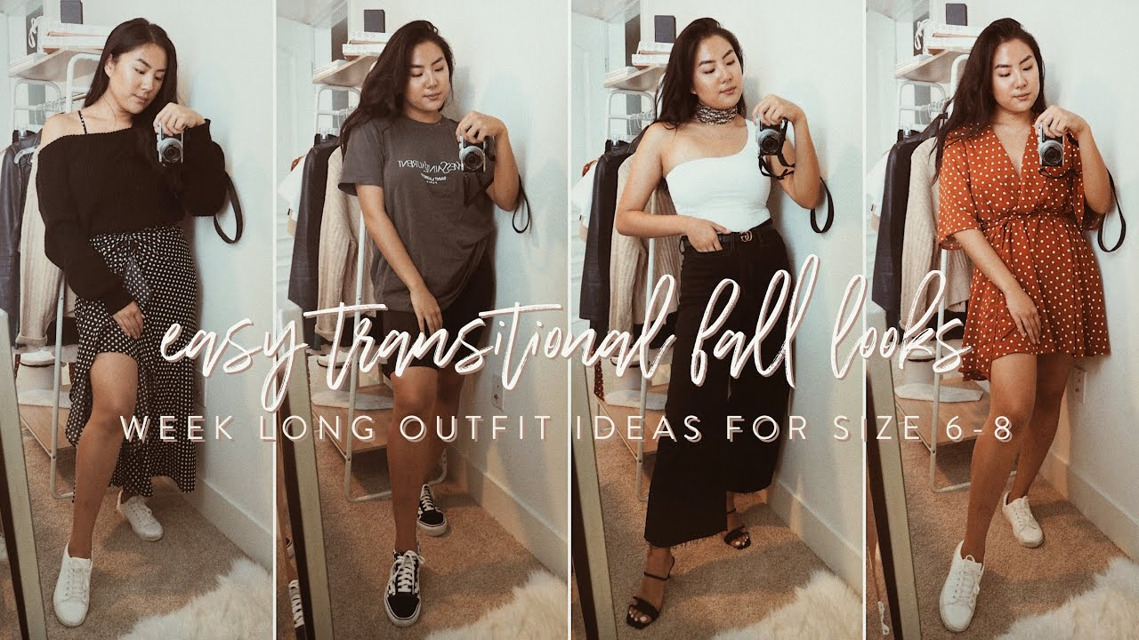 [VIDEO] - Easy transitional fall outfit ideas for 1 week (size 6-8) 1