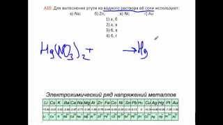 Тесты по химии. Ряд напряжений металлов. А10 ЦТ 2010