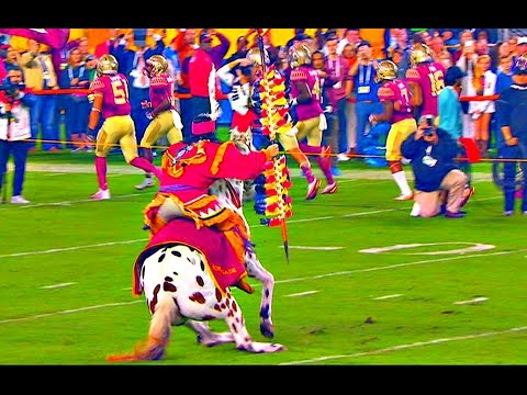 FSU horse Renegade falls down before spear toss