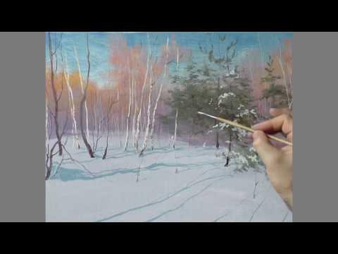 Видео уроки рисуем маслом зиму