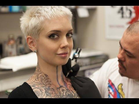 Sara X Gets Her Throat Tattooed with Carl Fuchs at Red 5 Tattoo in Virginia Beach