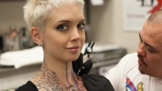 Sara X Gets Her Throat Tattooed with Carl Fuchs at Red 5 Tattoo in Virginia Beach