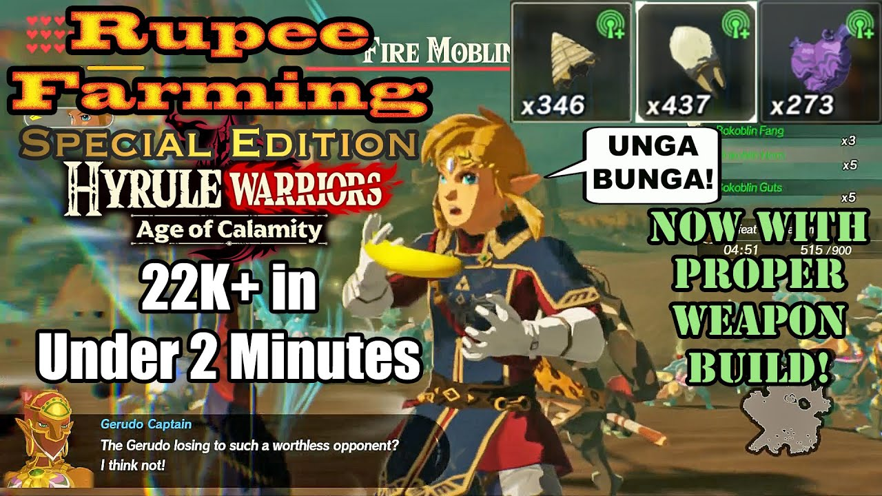 Hyrule Warriors Age Of Calamity Rupee Farming 16k In Under 5 Mins Quick Warrior Exp Youtube