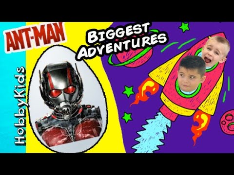 Antman Adventure  + Rocket to the Moon Worlds Biggest Adventure Eggs HobbyKidsVids
