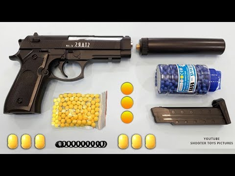 Realistic Beretta Toy Gun | Yellow Plastic Ball Bullet Airsoft BB Gun | Italian Military Toys
