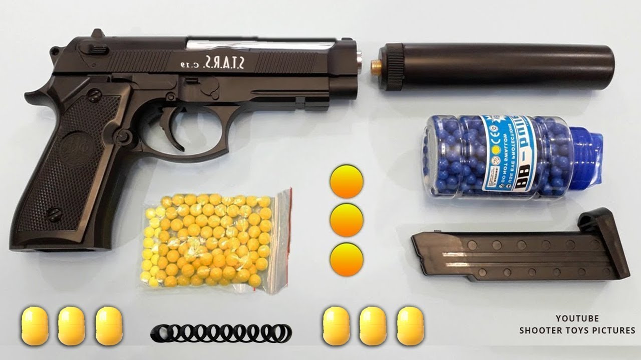Realistic Beretta Toy Gun Yellow Plastic Ball Bullet