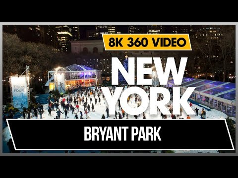 8K 360 VR Video Bryant Park 40 Street New York Ice Skating Winter Manhattan 2018 USA NYC 4K