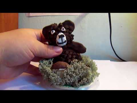 Мишка из шишек.  Поделки своими руками для детей в детский сад,  тема осень