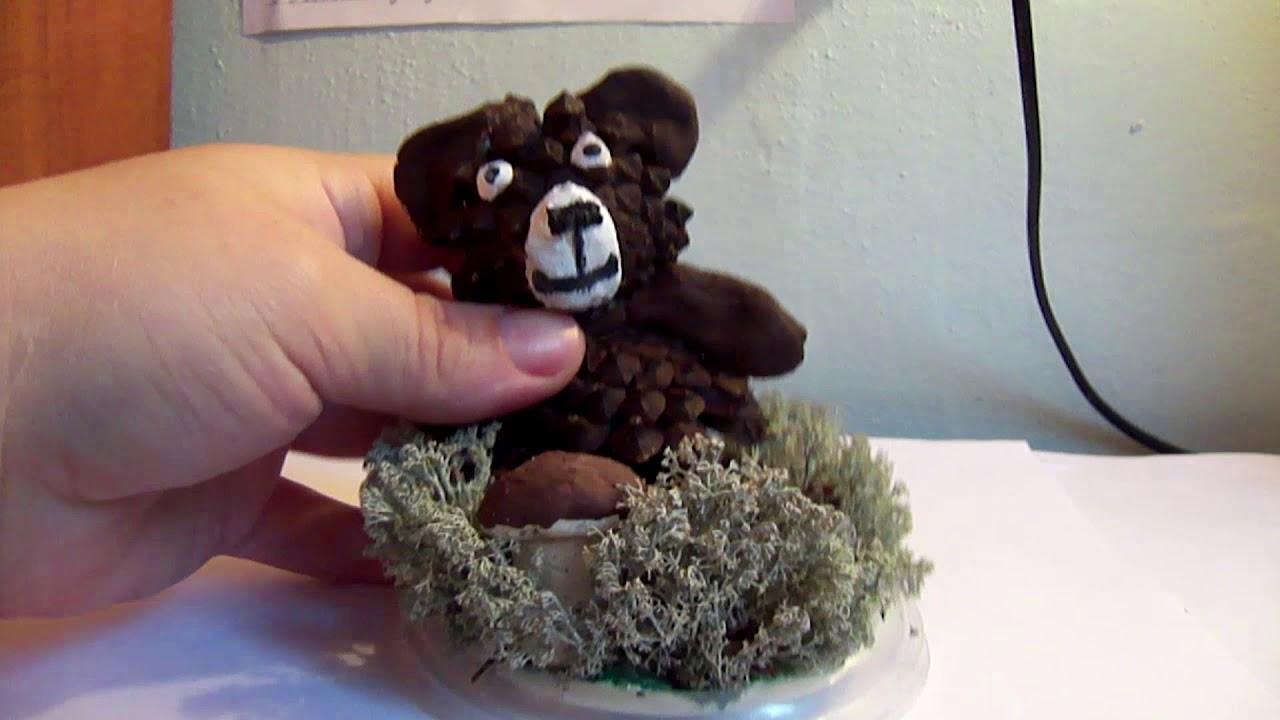 медведь из шишек пошагово с фото